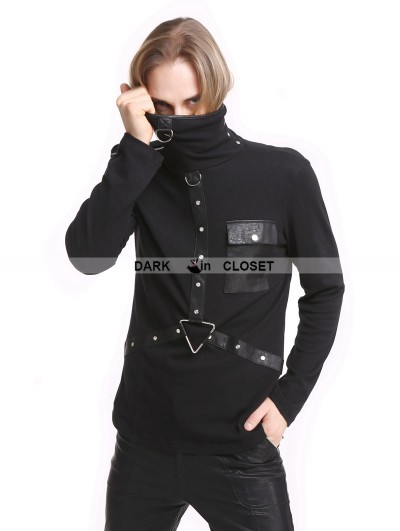 Pentagramme Black Gothic Punk High-Necked Shirt for Men