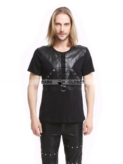 Pentagramme Black Gothic Punk Soilder Short Sleeves T-Shirt for Men