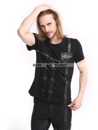 Pentagramme Black Gothic Punk Zipper Short Sleeves T-Shirt for Men
