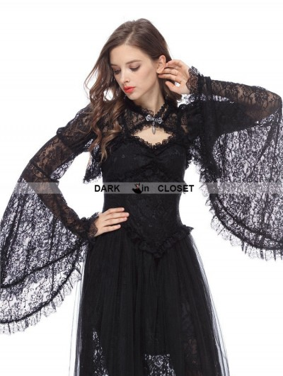Dark in Love Black Gothic Lace Cape with Big Sleeves