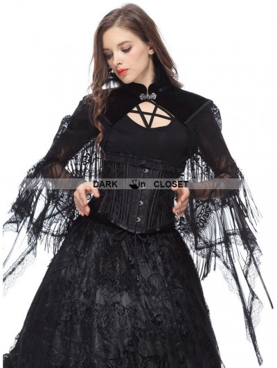 Dark in Love Black Gothic Palace Style Velvet Feather Cape with Tassels Lace