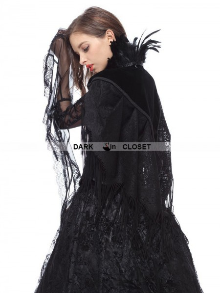 Lace feather dress black