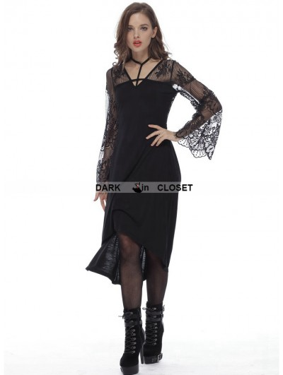 Dark in Love Black Fashion Gothic Lace High-Low Harness Dress