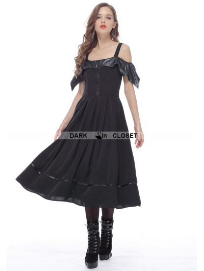 Dark in Love Black Gothic Bat Style Off-the-Shoulder Dress