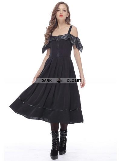 Dark in Love Black Gothic Bat Style Off-the-Shoulder Dress