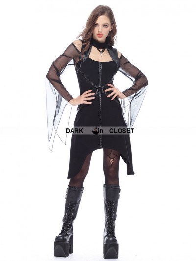 Dark in Love Black Gothic Punk T Off-the-Shoulder Dress