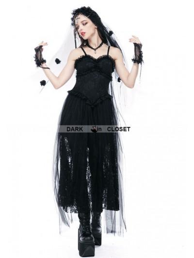 Dark in Love Black Romantic Gothic Spaghetti Straps Lace Dress
