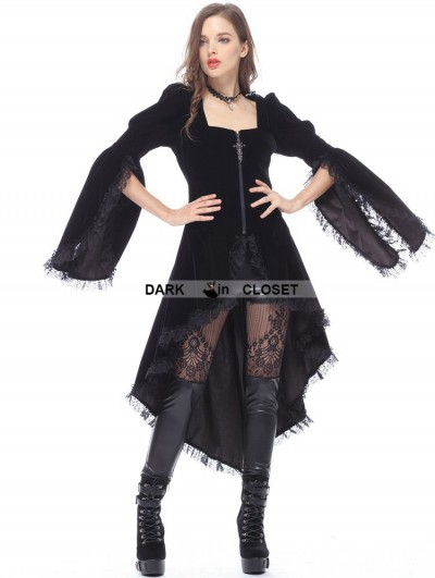 Dark in Love Black Gothic Noble Velvet Cocktail Jacket for Women