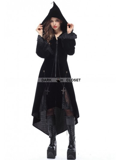 Dark in Love Black Gothic Witch Mysterious Velvet Coat with Detachable Cross