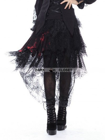 Dark in Love Black Gothic Messy Mesh and Lace Skirt