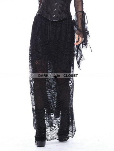 Dark in Love Black Gothic Casual Hollow-out Lace Long Skirt