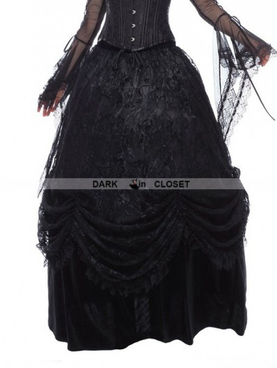 Dark in Love Black Gothic Long Skirt with Luxuriant Flocking Lace