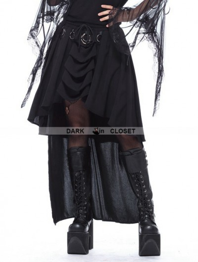 Dark in Love Black Gothic Ring Band Cocktail Chiffon Skirt
