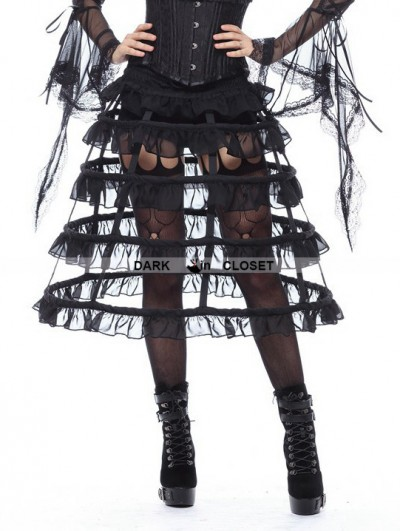 Dark in Love Black Gothic Lolita Layers Petticoat with Solf Fishbone