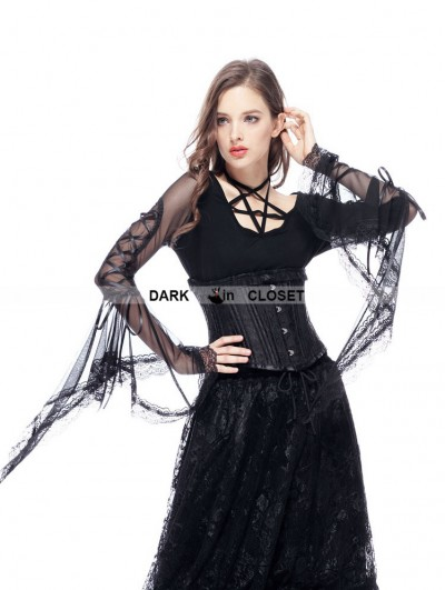 Dark in Love Black Vintage Gothic Long Trumpet Sleeves Star T-shirt for Women