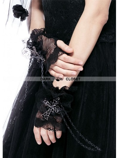 Dark in Love Black Gothic Cross and Chain Glove