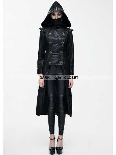 Devil Fashion Black Leather Gothic Punk Military Coat for Women