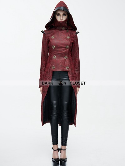 Devil Fashion Red Leather Gothic Punk Military Coat for Women
