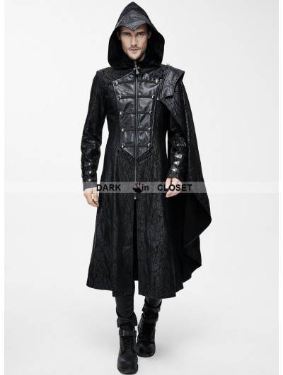Devil Fashion Black Leather Gothic Military Cloak Coat for Men