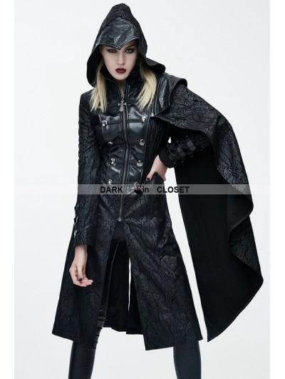 Devil Fashion Black Leather Gothic Military Cloak Coat for Women