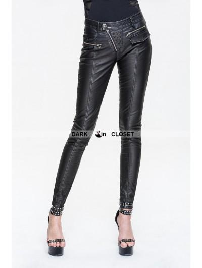 Devil Fashion Black Leather Gothic Punk Rivets Pants for Women