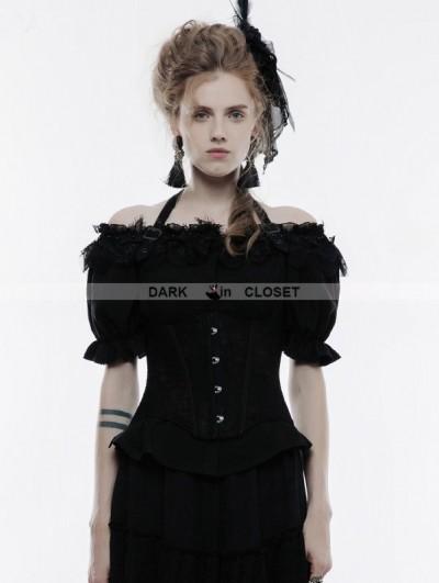 Punk Rave Black Gothic Lace Halter Underbust Corset