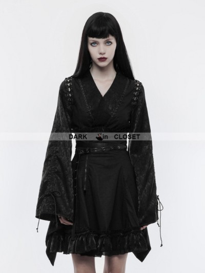 Punk Rave Black Gothic Japanese Jacquard Kimono Top for Women