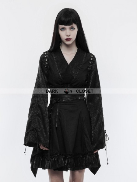 Punk Rave Black Gothic Japanese Jacquard Kimono Top For