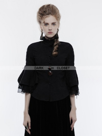 Punk Rave Black Gothic Cropped Sleeves Shirt for Women