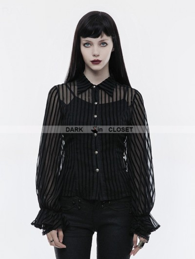 Punk Rave Black Gothic Steampunk transparent Striped Shirt for Women