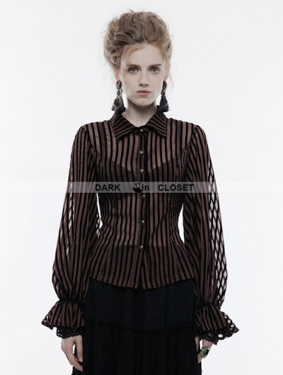 Punk Rave Coffee Gothic Steampunk transparent Striped Shirt for Women