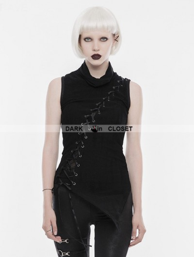 Punk Rave Black Gothic Punk Collar Broken Seam T-Shirt for Women