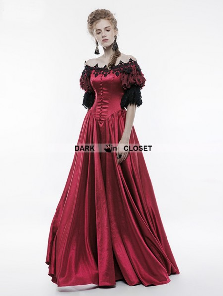 Punk Rave Red Victorian Vintage Palace Ball Gown Dress