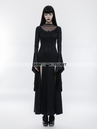 Punk Rave Black Gothic Gorgeous Lace Split Dress