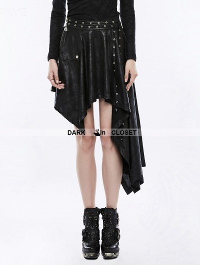Punk Rave Black Gothic Asymmetric Punk Skirt for Women