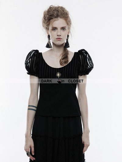 Punk Rave Black Steampunk Brooch Short Sleeve T-Shirt for Women