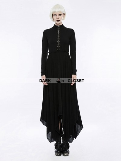 Punk Rave Gothic Retro High Neck Hollow-out Irregular Hem Mystical Dress