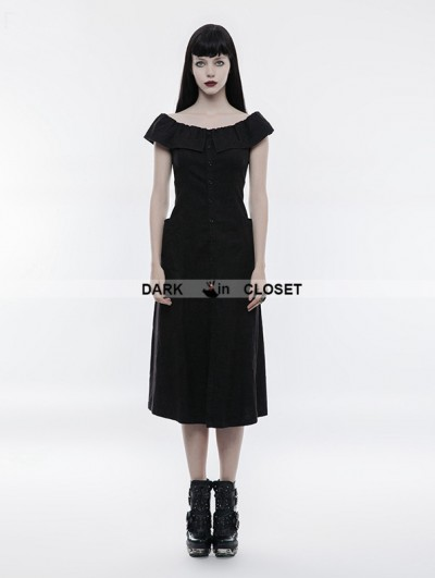 Punk Rave Black Gothic Punk Off-the-Shoulder Slim Dress
