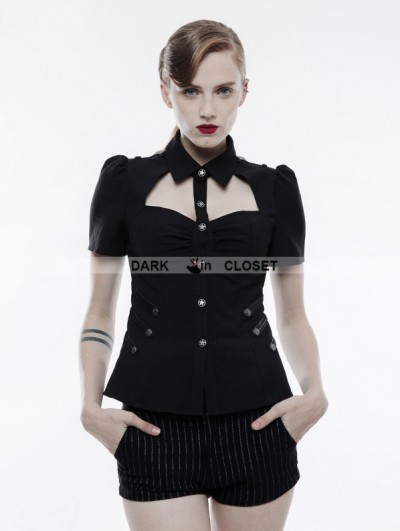 Punk Rave Black Gothic Military Uniform Short Sleeve Shirt for Women
