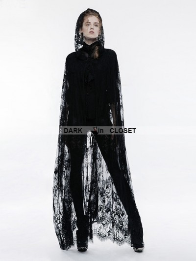 Punk Rave Black Gothic Transparent Lace Long Cloak for Women