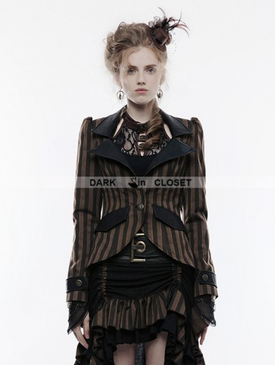 Punk Rave Brown Stripe Steampunk Jacket for Women