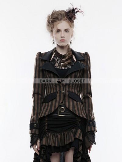 Punk Rave Brown Stripe Steampunk Jacket for Women