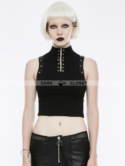 Punk Rave Black Gothic Punk Sleeveless Tank Top for Women