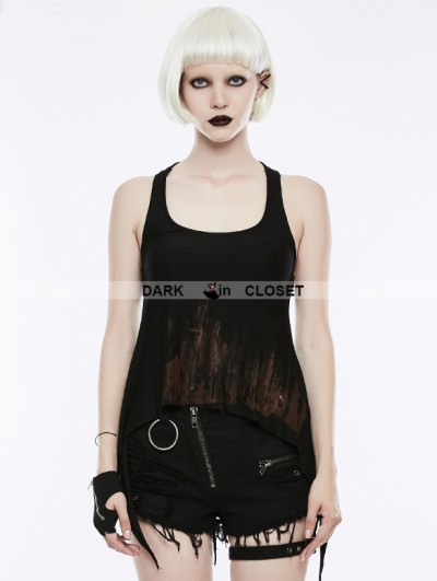 Punk Rave Black Gothic Punk Printing Tank Top for Women