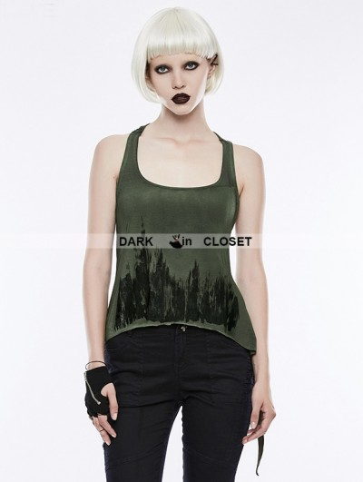Punk Rave Green Gothic Punk Printing Tank Top for Women