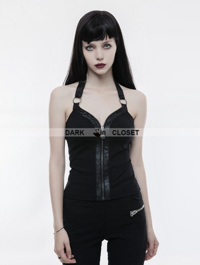 Punk Rave Black Gothic Punk Zipper Vest for Women