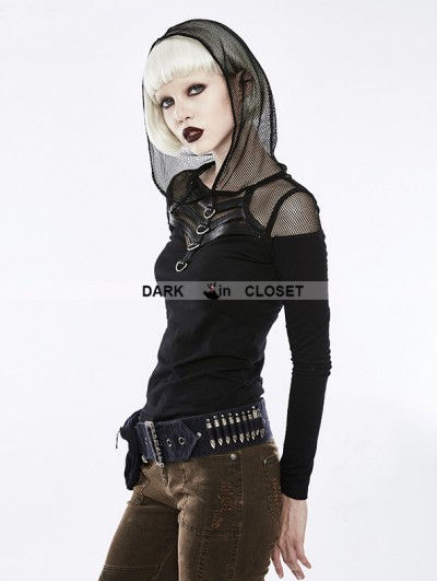 Punk Rave Black Gothic Punk Hooded Long Sleeve T-Shirt for Women