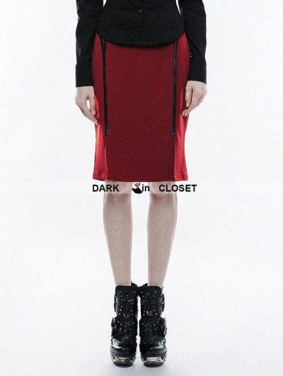 Punk Rave Red Gothic Military Uniform Half Skirt