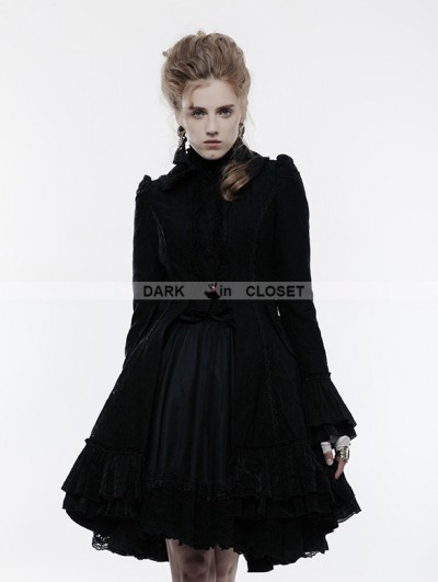 Punk Rave Black Gothic Lolita Lace Overcoat for Women