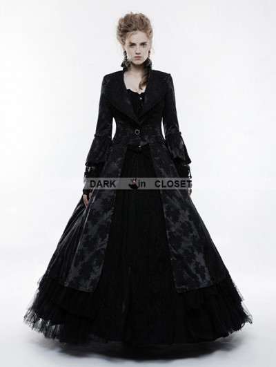 Punk Rave Black Gorgeous Floral Pattern Gothic Coat for Women